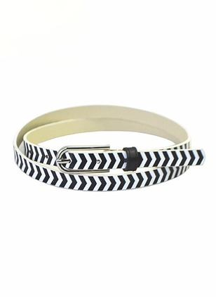 Leatherette Metal Stripe Belts