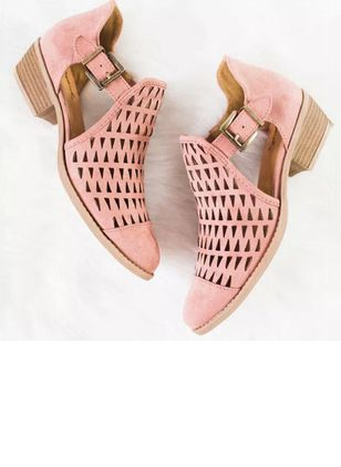 Buckle Hollow-out Closed Toe Low Heel Shoes
