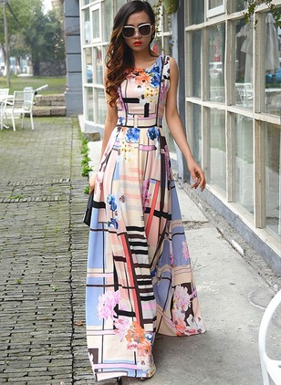 Floral Sleeveless Maxi A-line Dress