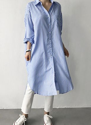 Casual Stripe Tunic Collar A-line Dress (106703594)
