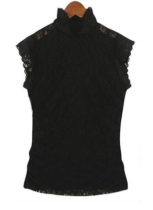 Solid High Neckline Sleeveless Blouses