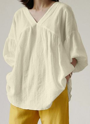 Solid Casual V-Neckline 3/4 Sleeves Blouses (147137935)