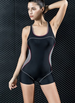 Polyester Halter Color Block One-piece Plus Size Swimwear Swimwear