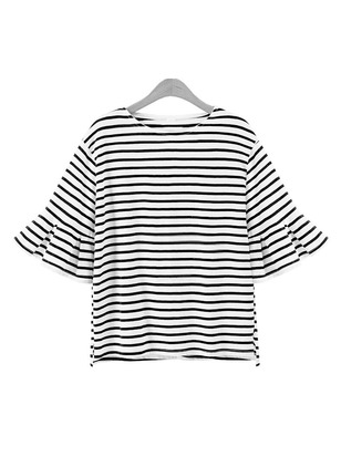 Cotton Stripe Round Neck Half Sleeve Casual T-shirts