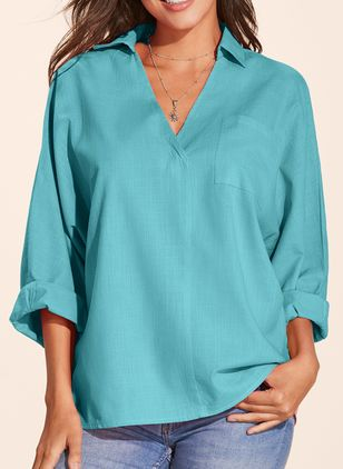 Solid Casual V-Neckline Long Sleeve Blouses (1298931)