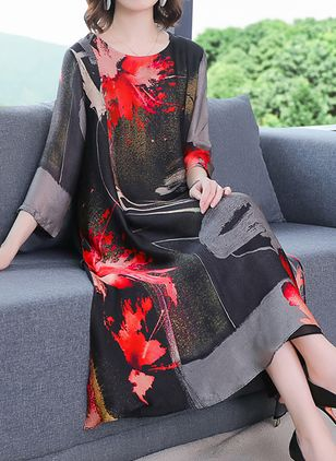 Chinese Casual Floral Tunic Round Neckline A-line Dress (4126890)