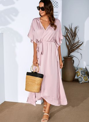 Casual Solid Sashes Wrap Shift Dress (1190164)