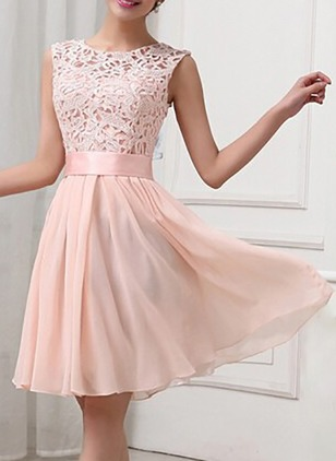 Solid Lace Sleeveless Knee-Length A-line Dress