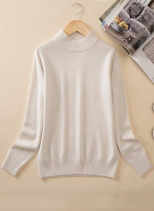 Wool Round Neckline Solid Tight None Sweaters