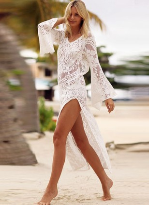 Polyester Solid Cover-Ups Swimwear