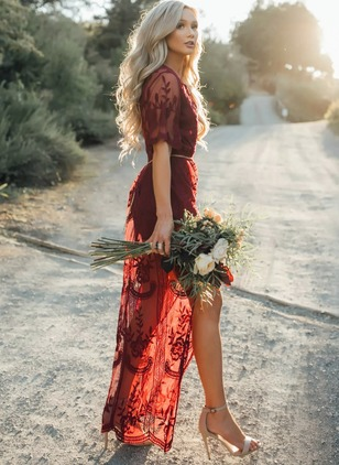 Lace Solid Half Sleeve Maxi Dresses