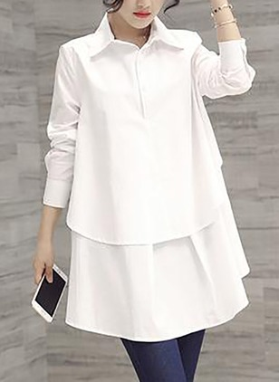 Solid Casual Polyester Collar 3/4 Sleeves Blouses