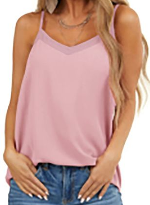 Solid Camisole Neckline Sleeveless Casual T-shirts (147927294)