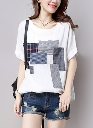 Color Block Casual Cotton Round Neckline Short Sleeve Blouses