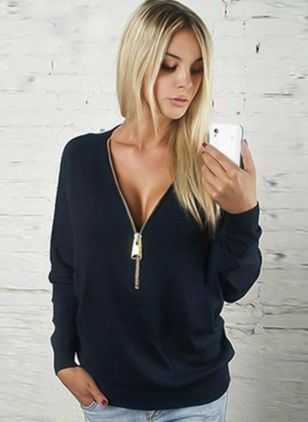 V-Neckline Solid Regular Zipper Sweaters (1233047)