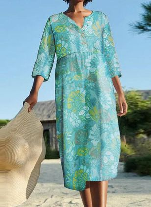 Casual Floral Tunic Round Neckline A-line Dress (101530293)