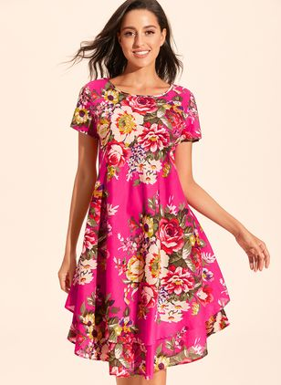 Chinese Casual Floral Ruffles Round Neckline A-line Dress (1339573)