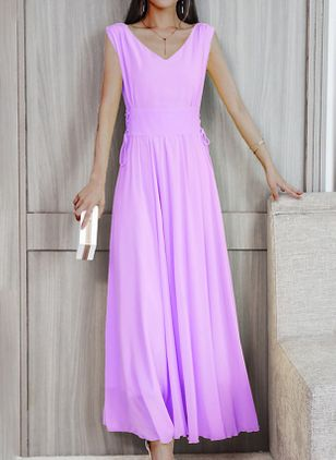 Elegant Solid V-Neckline Maxi X-line Dress (4072122)