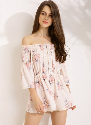 Polyester Floral 3/4 Sleeves Flare Sleeve Jumpsuits & Rompers