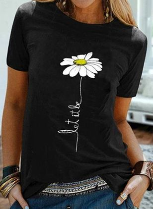 Floral Round Neck Short Sleeve Casual T-shirts (4043330)