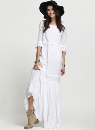 Solid Embroidery 3/4 Sleeves Maxi A-line Dress