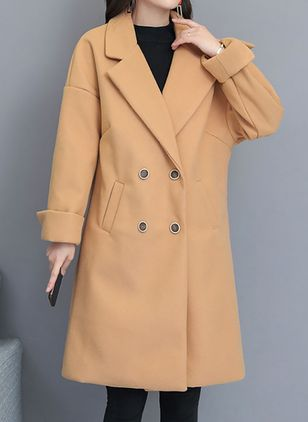 Long Sleeve Lapel Buttons Pockets Coats (146704391)