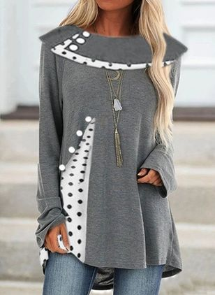 Polka Dot Round Neck Long Sleeve Casual T-shirts (112237421)