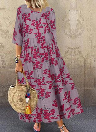 Plus Size Casual Floral Tunic Round Neckline Shift Dress (100321259)