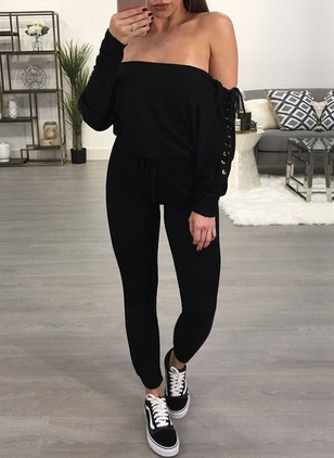 Polyester Solid Long Sleeve Backless Jumpsuits & Rompers