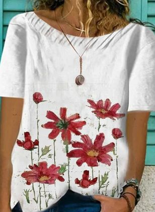 Floral Casual Round Neckline Short Sleeve Blouses (4228939)