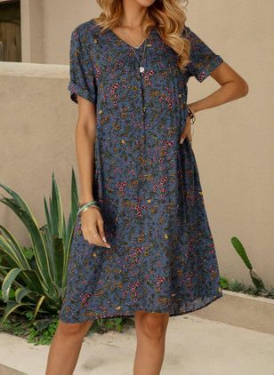 Casual Floral Tunic V-Neckline Shift Dress (100669010)