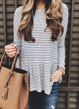 Stripe Cotton Round Neckline Long Sleeve Blouses