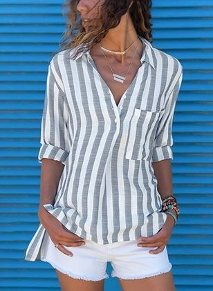 Stripe Casual Collar Long Sleeve, Blouses