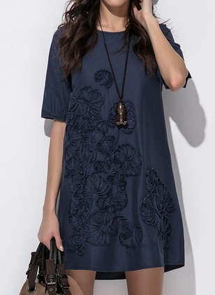 Linen Solid Half Sleeve Knee-Length Dresses