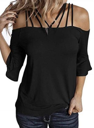 Solid Camisole Neckline 3/4 Sleeves Casual T-shirts (4041684)