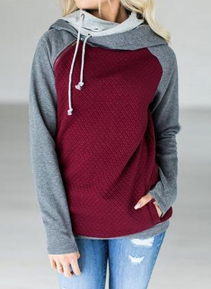 Color Block Alldaglig Hooded Sweatshirtar (101399009)