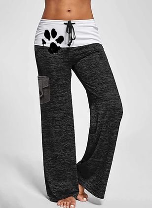 Casual Loose Buttons Pattern Mid Waist Polyester Pants (146904608)