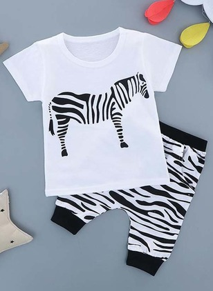 Boys' Animal Daily Short Sleeve Clothing Sets
