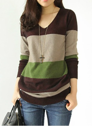 Wool Blends V-Neckline Color Block Loose Ruffles Others Sweaters
