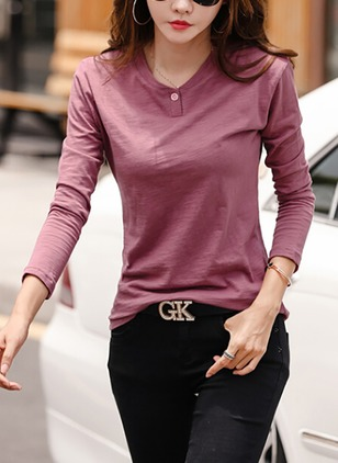 Cotton Solid Round Neck Long Sleeve Elegant T-shirts