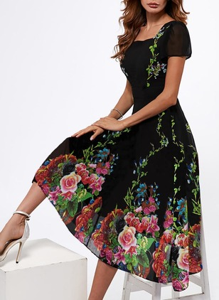 Floral Square Neckline Short Sleeve Midi A-line Dress