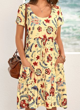 Casual Floral Shirt Round Neckline Shift Dress (5501684)