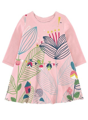 Girls' Print Daily Long Sleeve Dresses