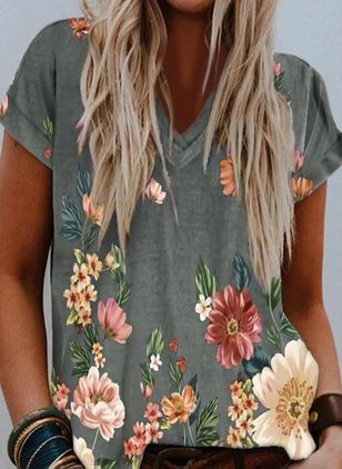 Floral V-Neckline Short Sleeve Casual T-shirts (146902717)