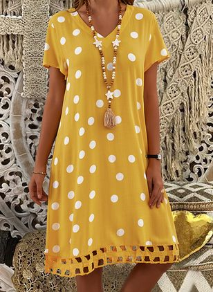 Casual Polka Dot Tunic V-Neckline Shift Dress (1513155)