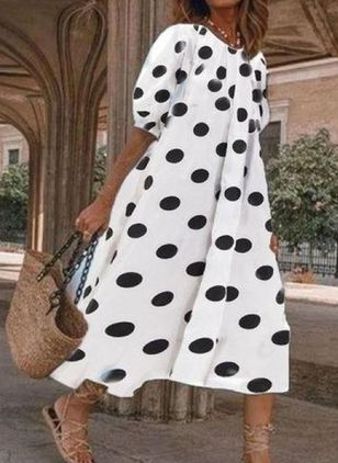 Casual Polka Dot Tunic Round Neckline A-line Dress (4126831)