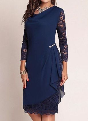 Casual Floral Lace Pencil Sheath Dress (1495085)