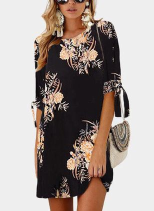 Floral Half Sleeve Above Knee Shift Dress