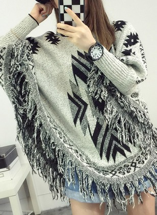 Cotton Round Neckline Geometric Bat Shirt Tassel Sweaters