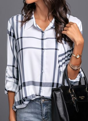 Tartan Collar Long Sleeve Blouses